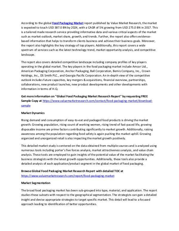 Food Packaging Market 2018-2025 Industry Report