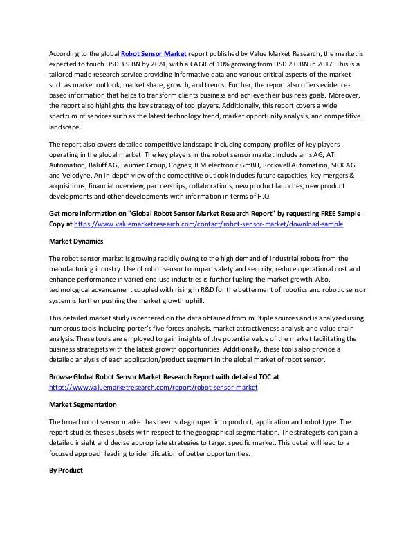 Robot Sensor Market 2018-2025 Research Report