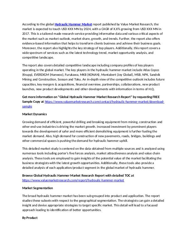 Hydraulic Hammer Market 2018-2025 Report