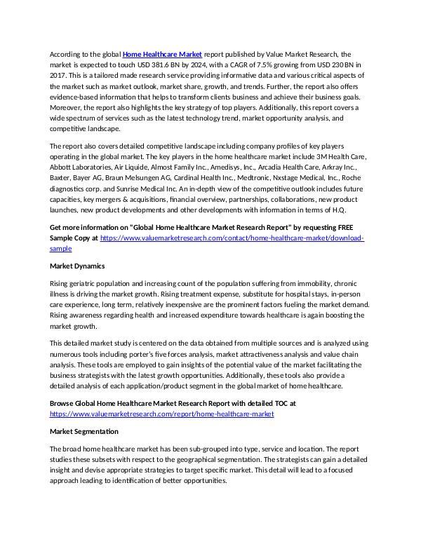 Home Healthcare Market 2018-2025 Industry Report