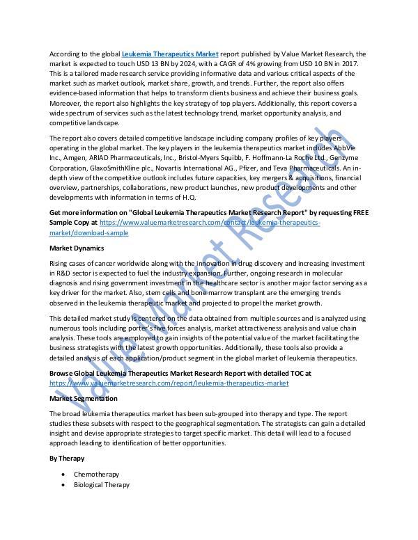 Leukemia Therapeutics Market 2018-2025 Report