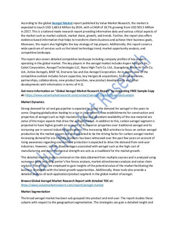 Aerogel Market Growth Analysis Till 2025