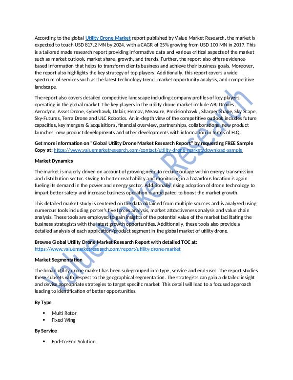 Utility Drone Market 2018-2025 Analysis Report
