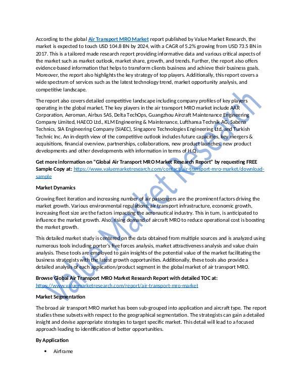 Air Transport MRO Market 2018-2025 Report
