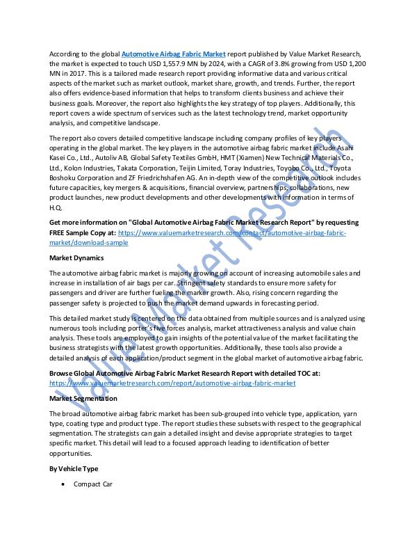 Automotive Airbag Fabric Market 2018-2025 Report