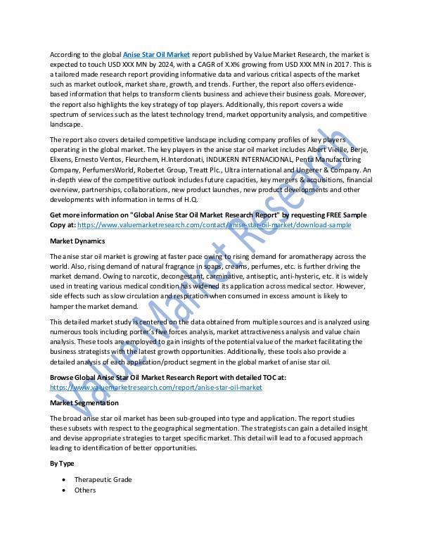 Anise Star Oil Market 2018-2025 Analysis Report