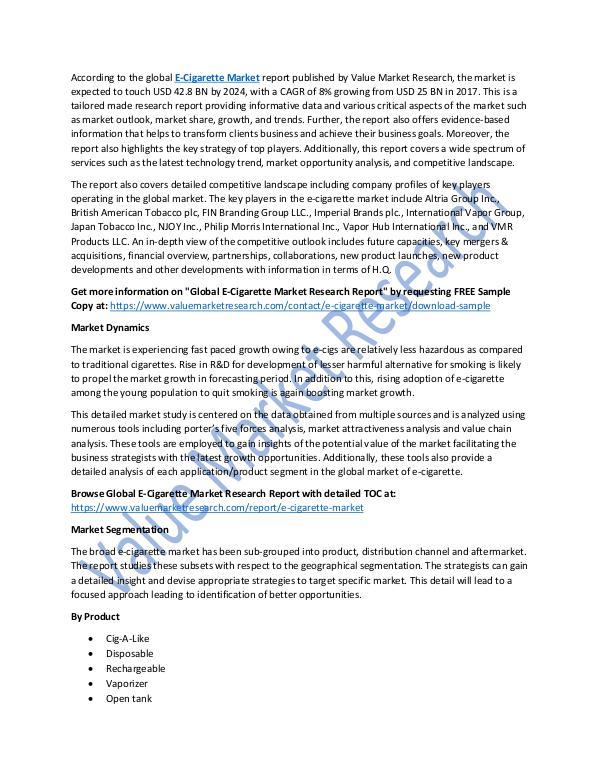 E-Cigarette Market 2018-2025 Research Report
