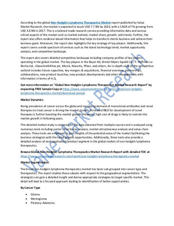 Non-Hodgkin Lymphoma Therapeutics Market Report