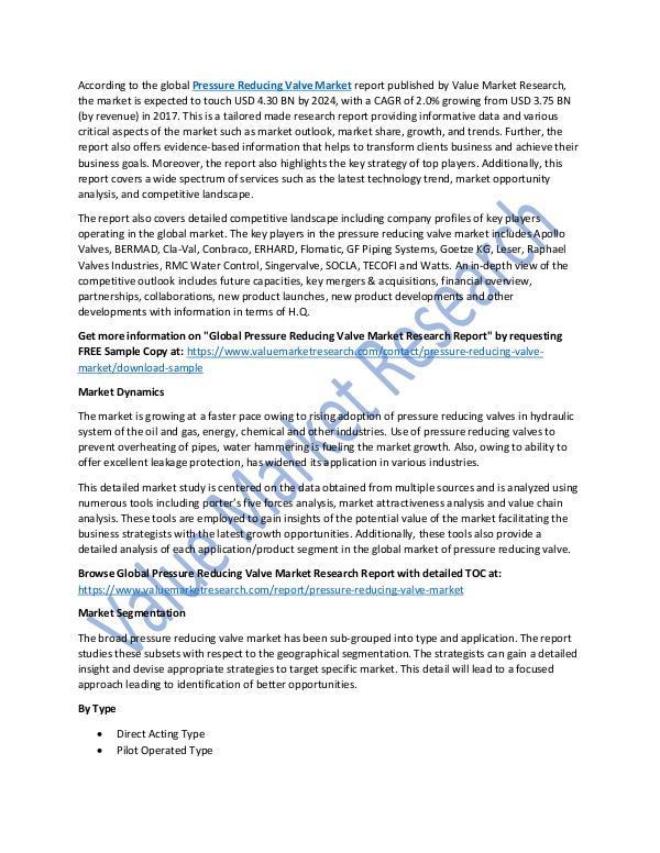 World Industries Pressure Reducing Valve Market Report Till 2025