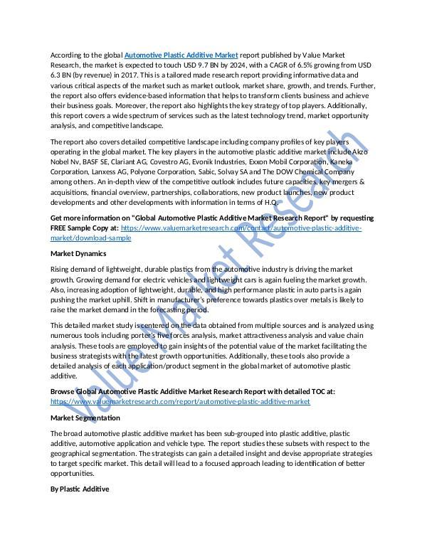 Automotive Plastic Additive Market Research Report