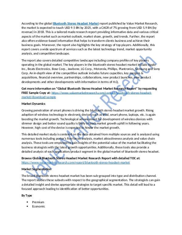 Bluetooth Stereo Headset Market Report upto 2025