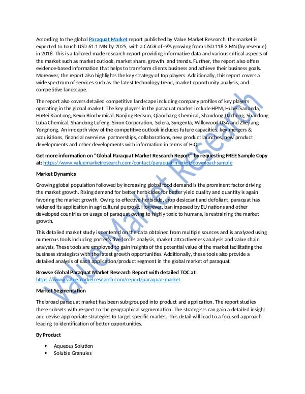 Focus on Paraquat Market Research Report 2018-2025
