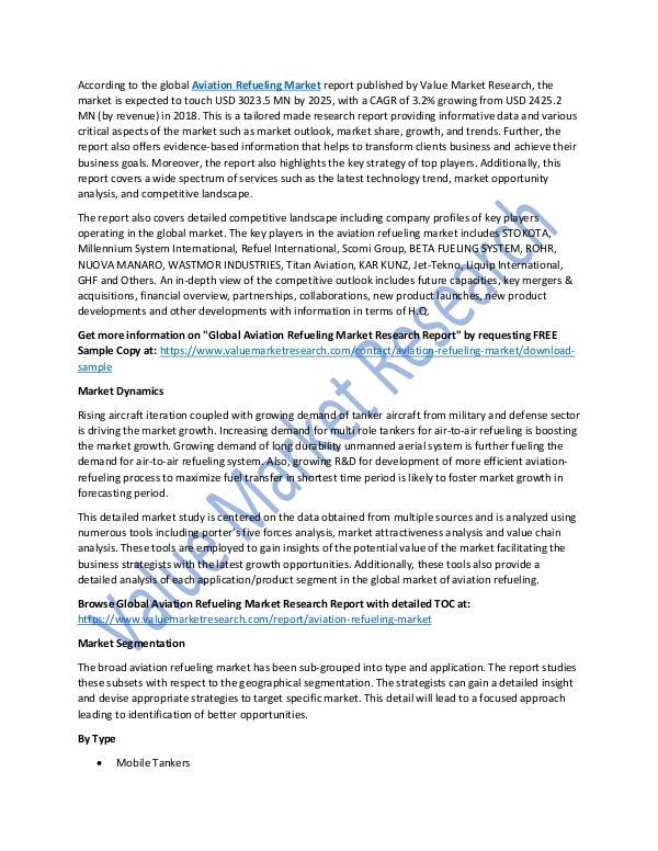 Aviation Refueling Market Report 2018-2025