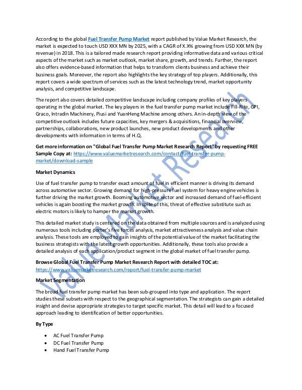 Fuel Transfer Pump Market 2018-2025 Report