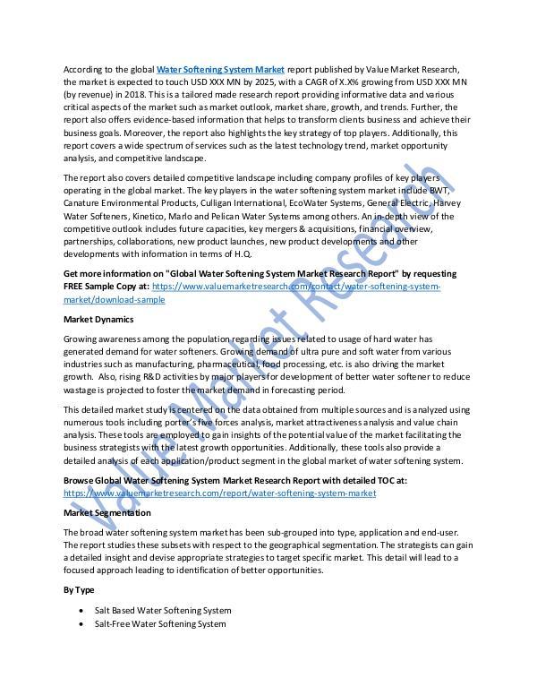 Water Softening System Market Report upto 2025