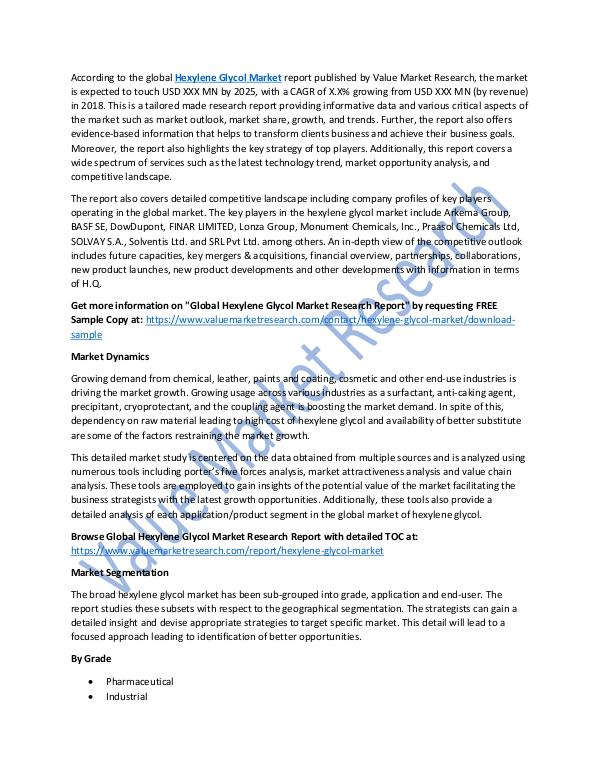 Hexylene Glycol Market 2018-2025 Industry Analysis