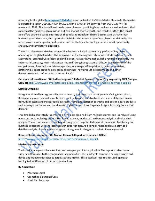 Lemongrass Oil Market Research Report 2018-2025