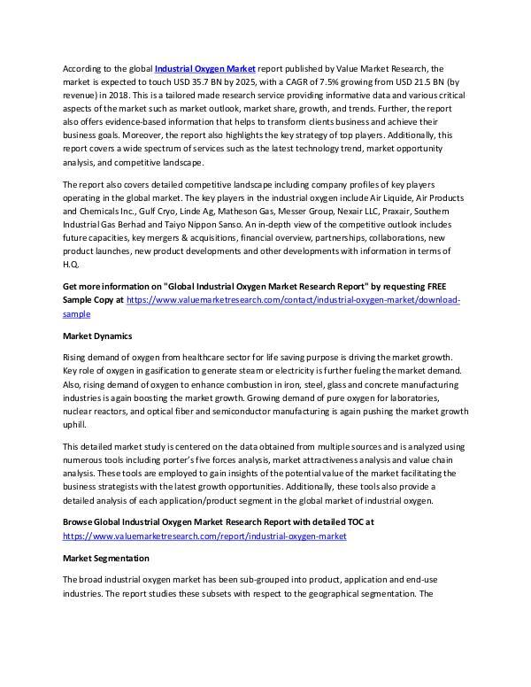 Industrial Oxygen Market Analysis Report 2018-2025