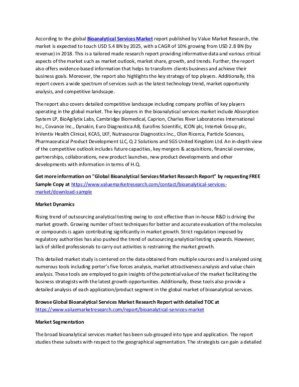 Bioanalytical Services Market 2018-2025 Report