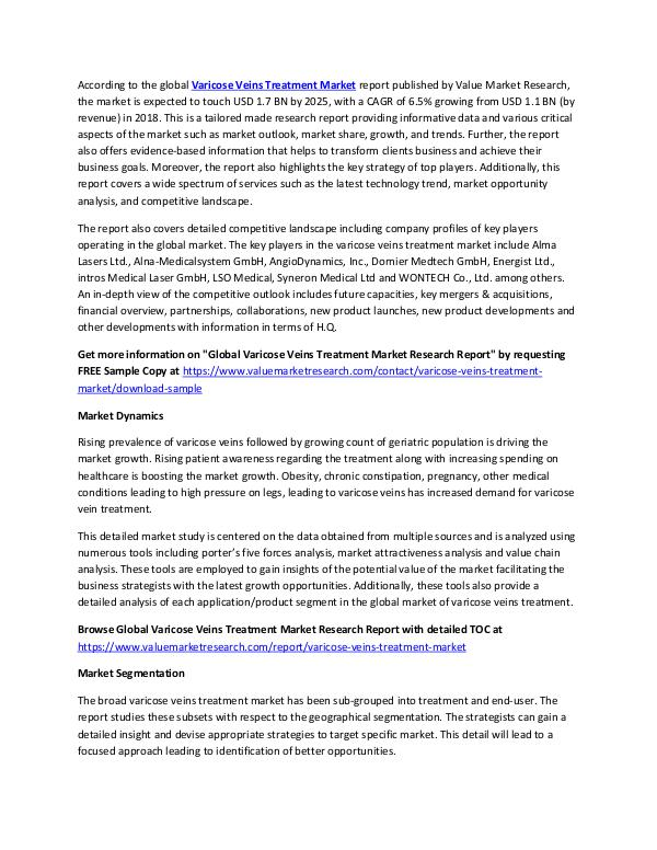Varicose Veins Treatment Market Report Till 2025