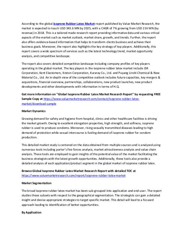 Isoprene Rubber Latex Market Report 2018-2025