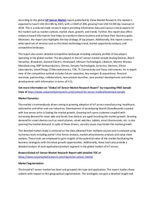 Focus on IoT Sensor Market Research Report, 2025