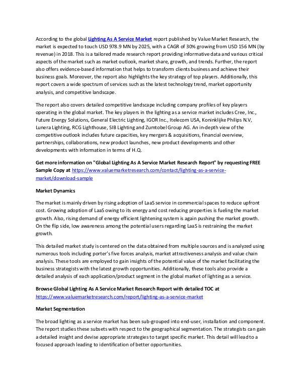 Lighting As A Service Market 2018-2025 Report
