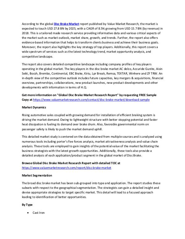 World Industries Disc Brake Market Research Report 2018-2025