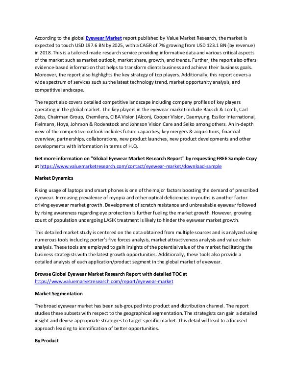Focus on Eyewear Market Research Report 2018-2025