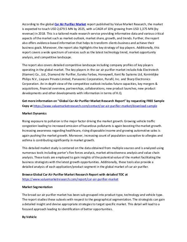Car Air Purifier Market Report 2018-2025