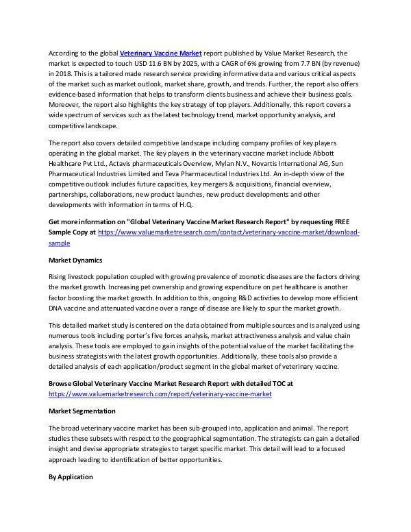 Veterinary Vaccine Market 2018-2025 Report