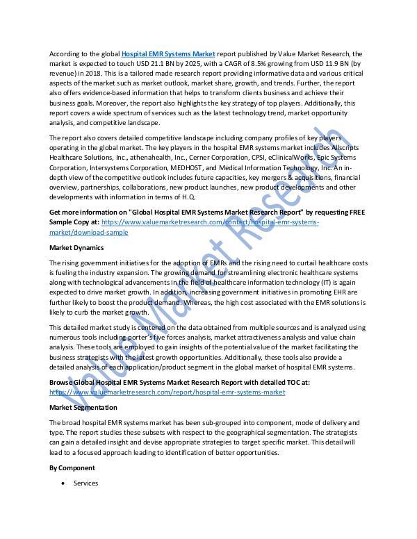 Hospital EMR Systems Market Report 2018-2025