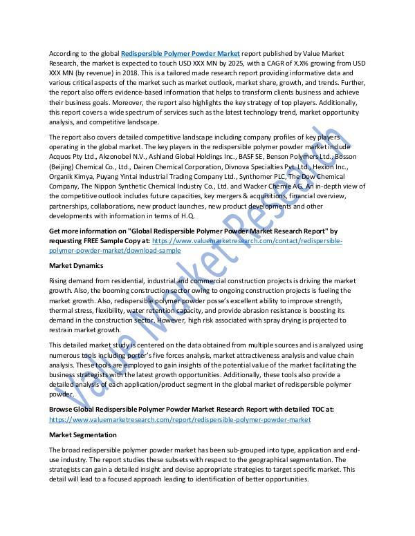 Redispersible Polymer Powder Market Report, 2025