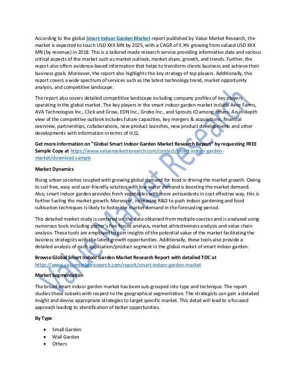 Smart Indoor Garden Market 2018-2025 Report