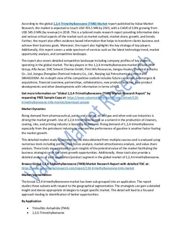 1,2,4-Trimethylbenezene Market 2018-2025 Report