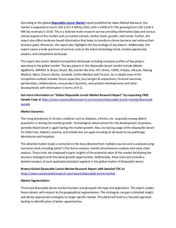 Disposable Lancet Market Analysis Report 2018-2025