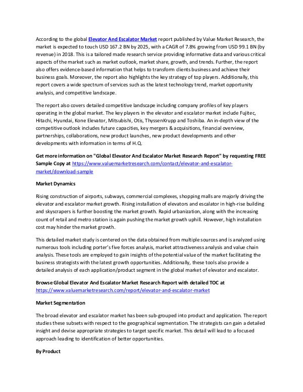 Elevator And Escalator Market 2018-2025 Report