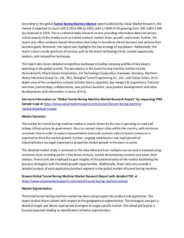 Tunnel Boring Machine Market Report 2018-2025