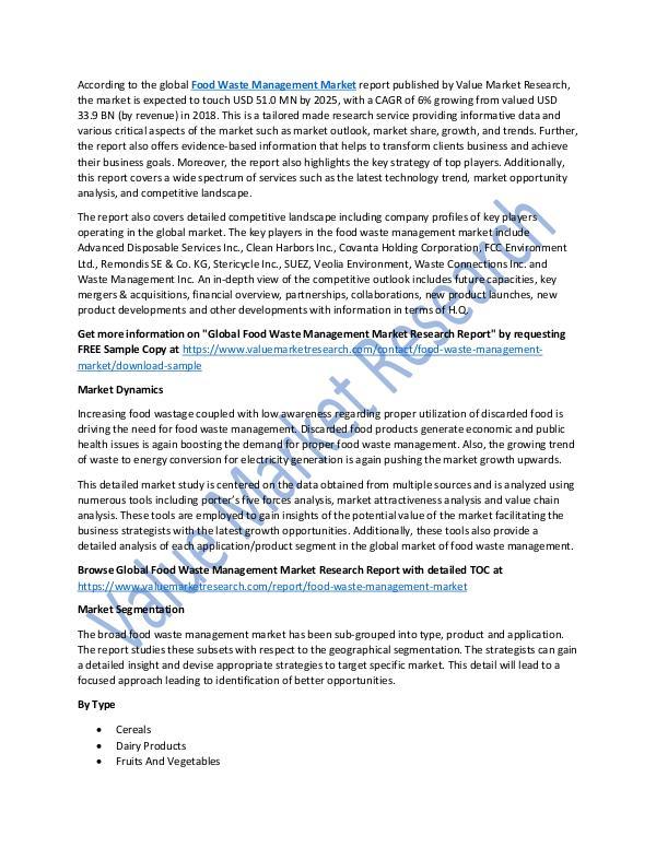Food Waste Management Market 2018-2025 Report