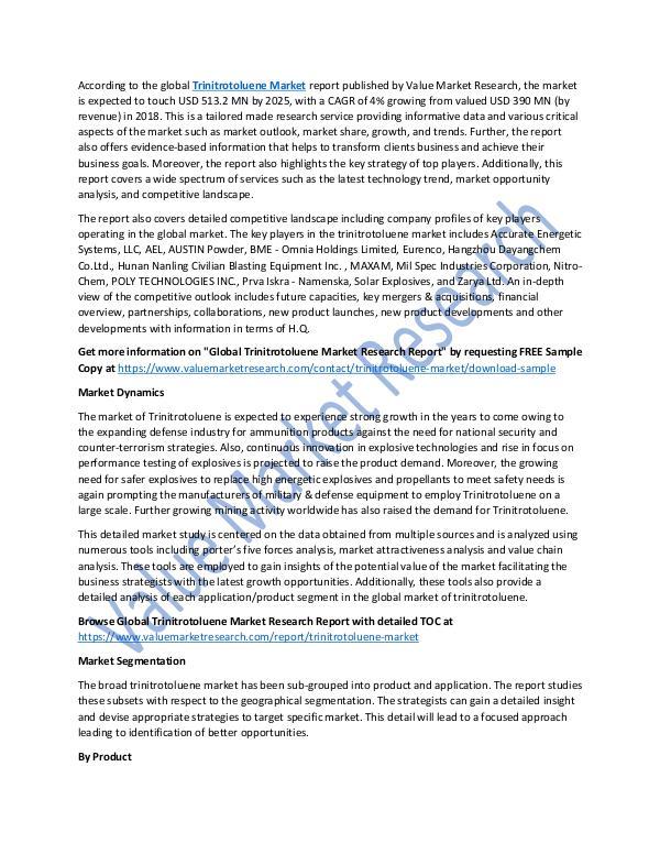 Trinitrotoluene Market Research Report 2018-2025