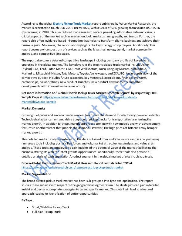 Electric Pickup Truck Market 2018-2025 Report