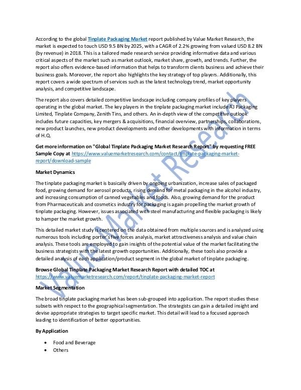 Tinplate Packaging Market Report 2018-2025