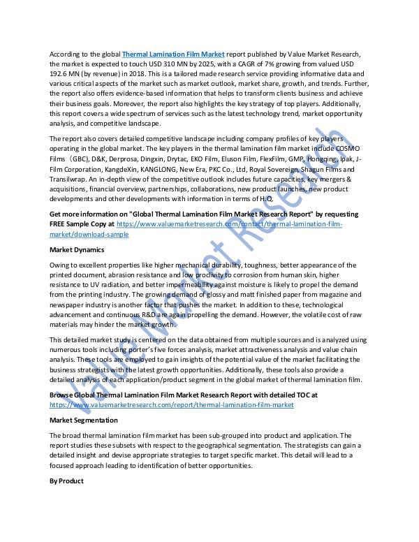 Thermal Lamination Film Market 2018-2025 Report