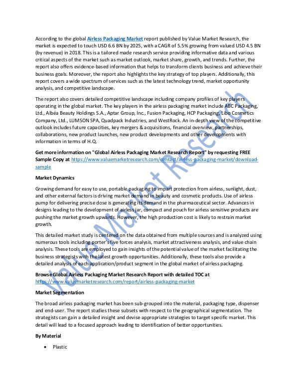 Airless Packaging Market 2018-2025 Analysis Report