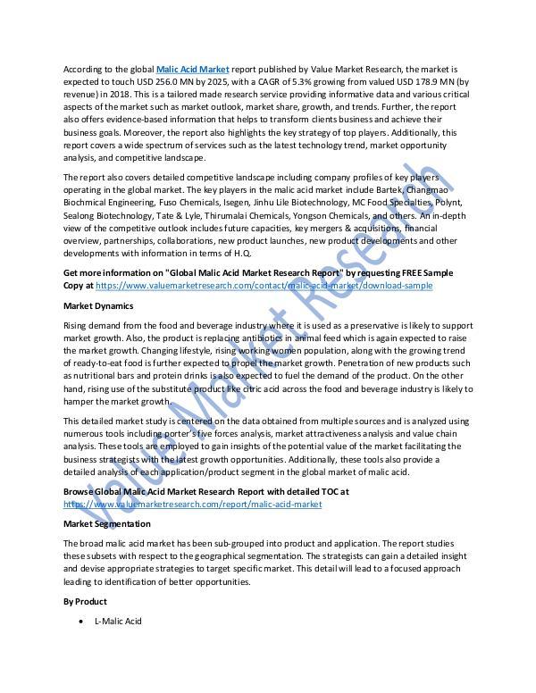 Malic Acid Market Analysis Report 2018-2025