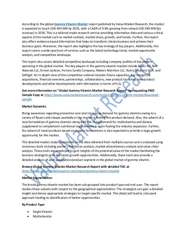 Gummy Vitamin Market 2018-2025 Research Report