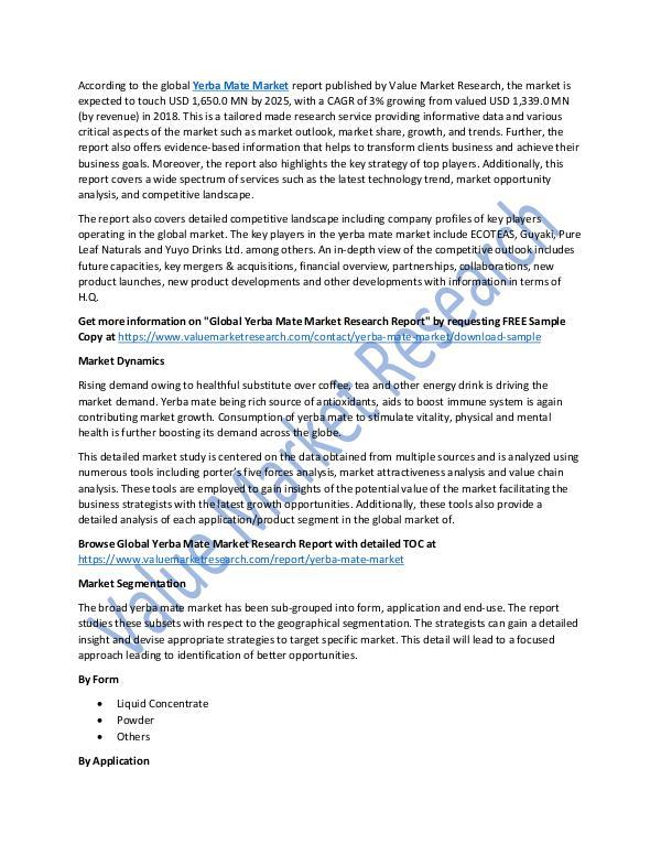 Yerba Mate Market 2018-2025 Report