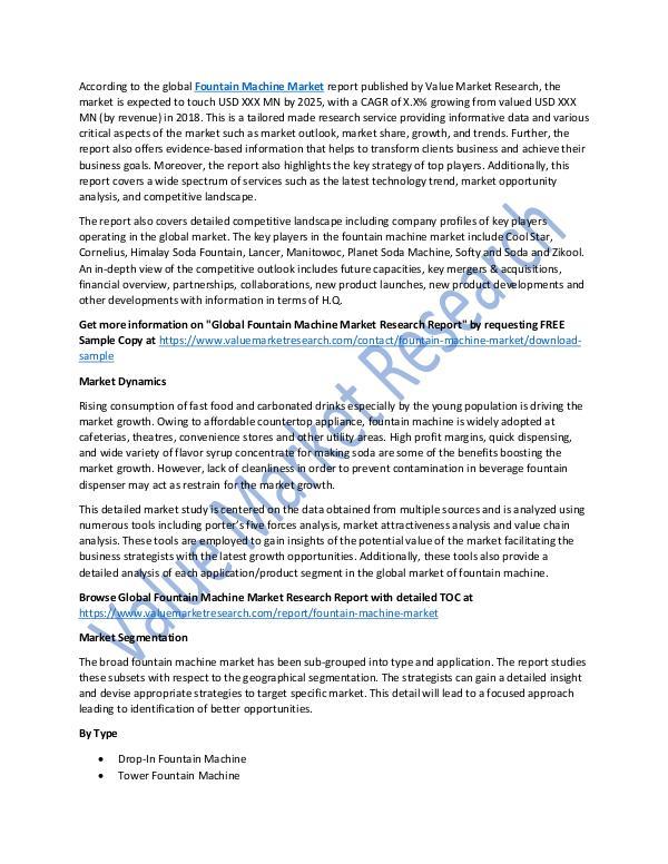 Fountain Machine Market Report 2018-2025