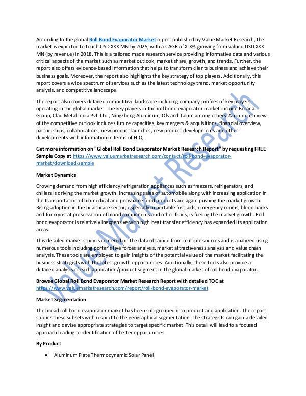 Roll Bond Evaporator Market 2018-2025 Report