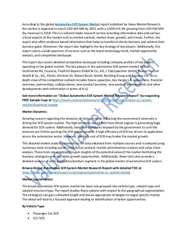 Automotive SCR System Market Report 2018-2025